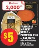 Farmer's Market Apple or Pumpkin Pies or Ace Buns - 580 G-1 Kg