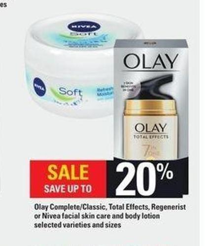 Olay Complete/classic - Total Effects - Regenerist Or Nivea Facial Skin Care And Body Lotion