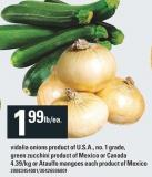 Vidalia Onions Product Of U.s.a No. 1 Grade - Green Zucchini Product Of Mexico Or Canada - Or Ataulfo Mangoes Product Of Mexico