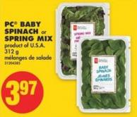PC Baby Spinach or Spring Mix - 312 g