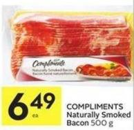 Compliments Naturally Smoked Bacon 500 g
