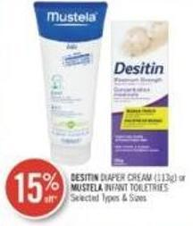 Desitin Diaper Cream (113g) or Mustela Infant Toiletries
