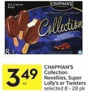 Chapman's Collection Novelties - Super Lolly's or Twisters Selected 8 - 28 Pk