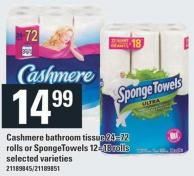 Cashmere Bathroom Tissue 24=72 Rolls Or Spongetowels 12=18 Rolls