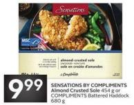Sensations By Compliments Almond Crusted Sole 454 g or Compliments Battered Haddock 680 g