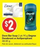 Dove Bar Soap 2 Pk 90 g Degree Deodorant or Antiperspirant 48-85 g