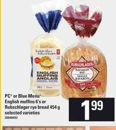 PC Or Blue Menu English Muffins 6's Or Rubschlager Rye Bread 454 g