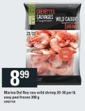 Marina Del Rey Raw Wild Shrimp - 20/30 Per Lb - Easy Peel - Frozen - 300 g