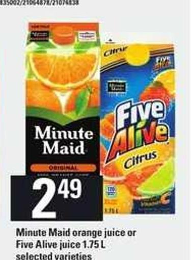 Minute Maid Orange Juice Or Five Alive Juice - 1.75 L