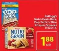 Kellogg's Nutri Grain Bars - Pop Tarts or Rice Krispies Squares