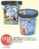 Fruttare Fruit Ice Bars (6's) or Ben & Jerry's Ice Cream (500ml)