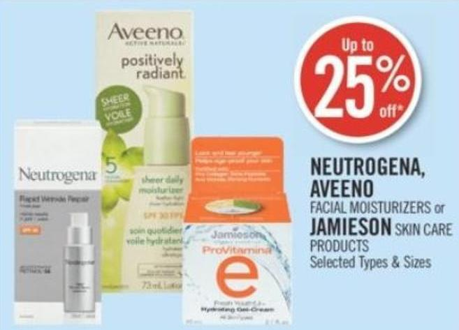 Neutrogena - Aveeno  Facial Moisturizers or Jamieson Skin Care Products