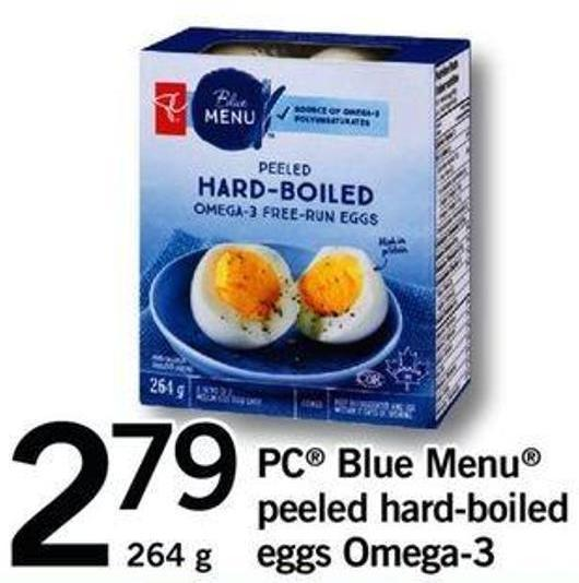PC Blue Menu Peeled Hard-boiled Eggs Omega-3