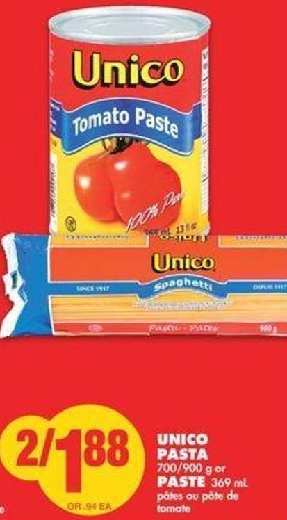 Unico Pasta 700/900 G Or Paste 369 Ml
