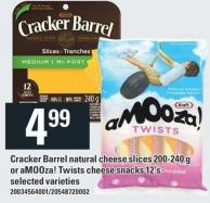 Cracker Barrel Natural Cheese Slices 200-240 G Or Amooza! Twists Cheese Snacks 12's