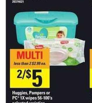 Huggies - Pampers Or PC 1x Wipes - 56-100's