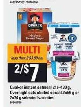 Quaker Instant Oatmeal - 216-430 G Overnight Oats Chilled Cereal - 2x69 G Or 2x74 G