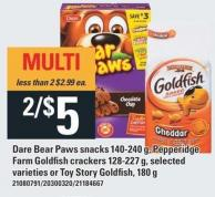 Dare Bear Paws Snacks 140-240 g - Pepperidge Farm Goldfish Crackers 128-227 g Or Toy Story Goldfish - 180 g