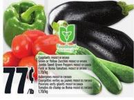 Eggplants - Green Or Yellow Zucchini - Jumbo Sweet Green Peppers Or Field Or Roma Tomatoes