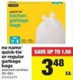 No Name Quick-tie Or Regular Garbage Bags - 30-48's