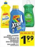 Xtra Laundry Detergent Or Sunlight Or Palmolive Dish Detergent Or Oxi Clean