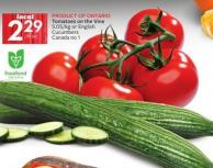 Tomatoes On The Vine 5.05/kg or English Cucumbers Canada No 1