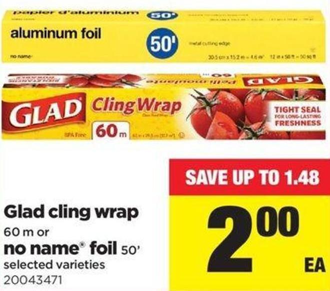 Glad Cling Wrap - 60 M Or No Name Foil - 50'