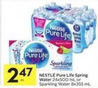 Nestlé Pure Life Spring Water 24x500 mL or Sparkling Water 8x355 mL