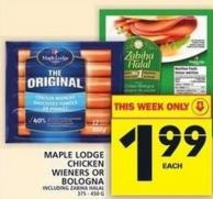 Maple Lodge Chicken Wieners Or Bologna