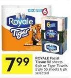 Royale Facial Tissue 88 Sheets 6 Pk or Tiger Towels 2 Ply 55 Sheets 6 Pk Selected