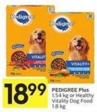 Pedigree Plus 1.54 Kg or Healthy Vitality Dog Food 1.8 Kg