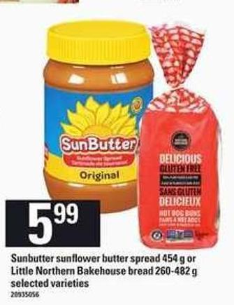 Sunbutter Sunflower Butter Spread - 454 G Or Little Northern Bakehouse Bread - 260-482 G