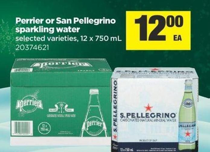 Perrier Or San Pellegrino Sparkling Water - 12 X 750 mL