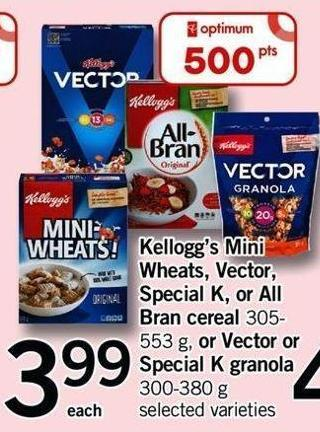 Kellogg's Mini Wheats - Vector - Special K Or All Bran Cereal - 305-553 G Or Vector Or Special K Granola - 300-380 G