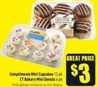 Compliments Mini Cupcakes 12 Pk - Ct Bakery Mini Donuts 6 Pk