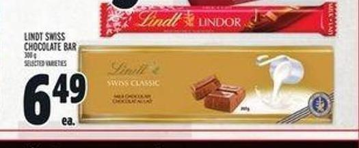 Lindt Swiss Chocolate Bar