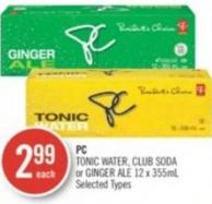PC Tonic Water - Club Soda or Ginger Ale 12 X 355ml