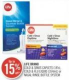 Life Brand Cold & Sinus Caplets (18's) - Cold & Flu Liquid (354ml) or Nasal Rinse Bottle System