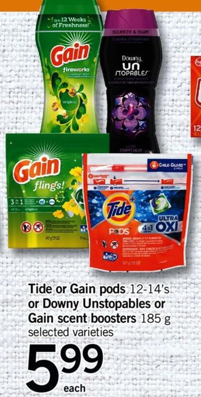 Tide Or Gain PODS 12-14's Or Downy Unstopables Or Gain Scent Boosters 185 G