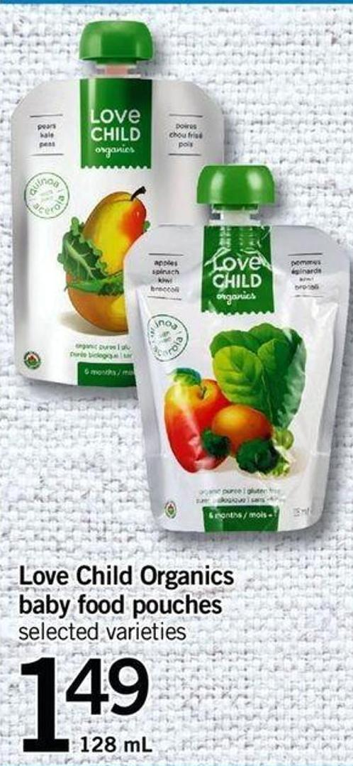 Love Child Organics Baby Food Pouches - 128 Ml