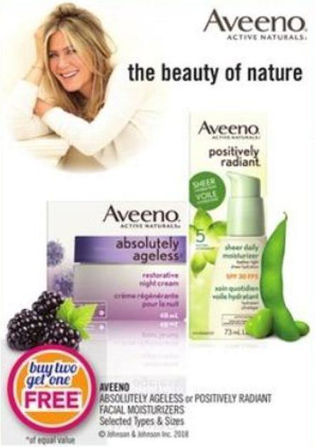 Aveeno  Absolutely Ageless or Positively Radiant Facial Moisturizers