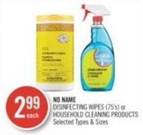 No Name Disinfecting Wipes (75's) or Household Cleaning Products
