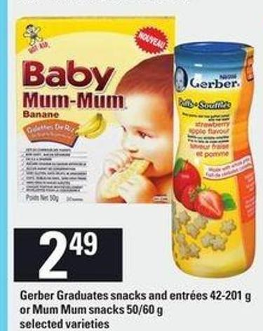 Gerber Graduates Snacks And Entrées - 42-201 G Or Mum Mum Snacks - 50/60 G