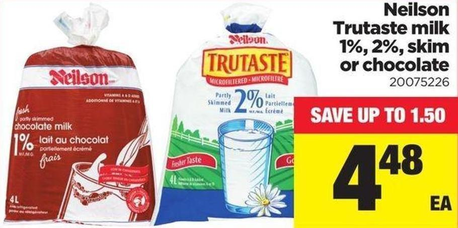 Neilson Trutaste Milk 1% - 2% - Skim Or Chocolate