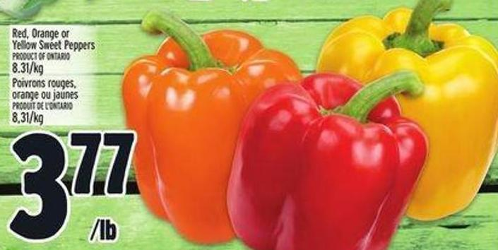 Red - Orange Or Yellow Sweet Peppers