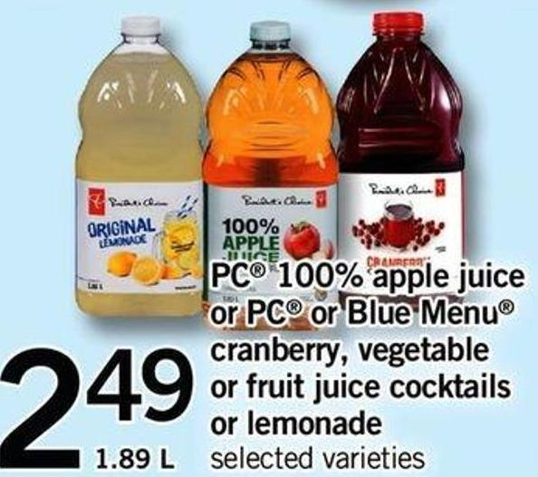 PC 100% Apple Juice Or PC Or Blue Menu Cranberry - Vegetable Or Fruit Juice Cocktails Or Lemonade - 1.89 L
