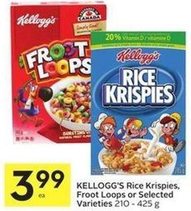 Kellogg's Rice Krispies - Froot Loops or Selected Varieties 210 - 425 g