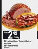 PC Or Blue Menu Natural Choice Deli Meat