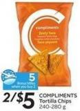 Compliments Tortilla Chips 240-280 g - 5 Air Miles Bonus Miles