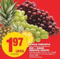 Whole Pineapple - Each or Red or Green Seedless Grapes